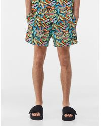 Bershka Swim Shorts With Abstract Print - Multicolour