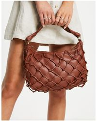 Mango Faux Leather Shoulder Bag With Woven Detail - Red