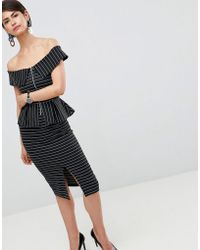 ASOS - Bardot Pencil Dress With Peplum And Zip Detail In Pinstripe - Lyst