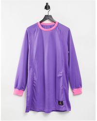Nike Фиолетовое Платье С Длинными Рукавами, Воротом И Манжетами Розового Цвета -фиолетовый Цвет - Пурпурный