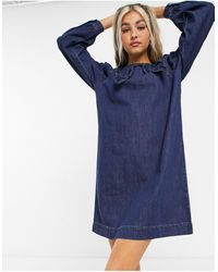 Noisy May Denim Shirt Dress With Prairie Collar - Blue