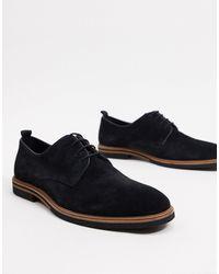 ASOS Chaussures en daim à lacets avec semelle contrastante - Noir
