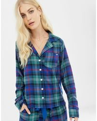 Abercrombie & Fitch Plaid Pajama Shirt With Side Panel - Blue