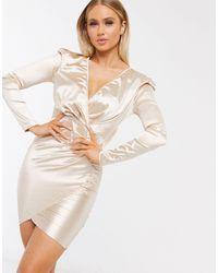 AX Paris Бежевое Атласное Платье Мини С Длинными Рукавами И Запахом -розовый