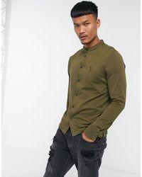 Religion Grandad Collar Jersey Shirt - Green