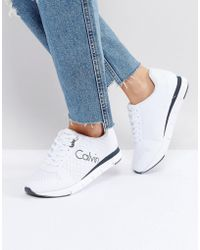 CALVIN KLEIN 205W39NYC - Jeans Taline White Mesh Trainers - Lyst