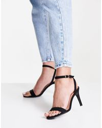 New Look Черные Туфли Из Искусственной Замши На Каблуке-шпильке И С Ремешками -черный