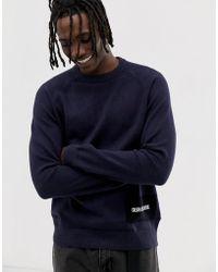 Calvin Klein Pullover aus Wollmischung mit Rundhalsausschnitt und Logo - Blau