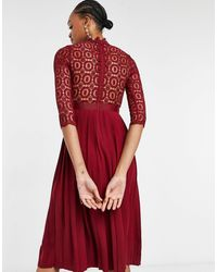 Little Mistress 2 In 1 Crochet Lace Dress With Pleated Skirt In Oxblood - Red