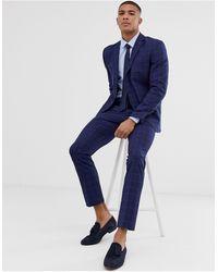 SELECTED Smalle Pantalon Met Ruit - Blauw