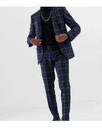 Heart & Dagger Slim Fit Wool Mix Suit Pants In Navy - Blue