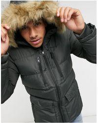 Threadbare Puffer Jacket - Green