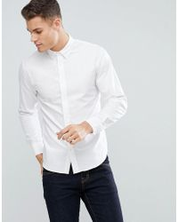 Stradivarius - Slim Fit Oxford Shirt In White - Lyst