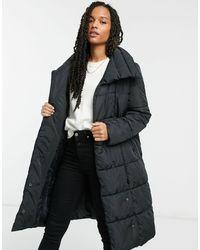 Y.A.S . Salina Large Collar Long Padded Jacket - Black