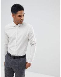 Reiss | Slim Shirt In White Melange | Lyst