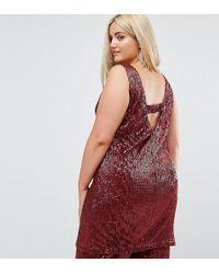 Elvi Allover Premium Sequin Shift Dress With V Back - Red