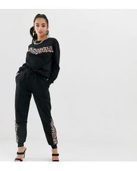 ASOS Tracksuit With Animal Panelled Sweat / Skinny jogger - Black