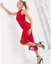 AX Paris Lace Peplum Hem Midi Dress - Red
