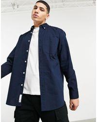 Pull&Bear Синяя Оксфордская Рубашка Свободного Кроя -голубой - Синий