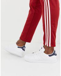 adidas Белые Кроссовки С Темно-синей Вставкой На Заднике Stan Smith-белый