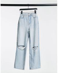 ASOS – Hourglass – Legere Dad Jeans mit Zierrissen und hohem Bund - Blau