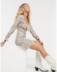 TOPSHOP Animal Print Mini Dress With Ruffle Detail - Multicolour