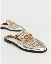 River Island Woven Mules With Metal Trim In Gold - Metallic