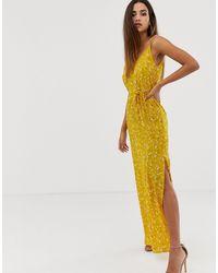 AX Paris - Платье С Цветочным Принтом И Разрезом -желтый - Lyst