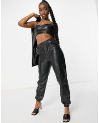 ASOS Jersey Leather Look Suit jogger - Black