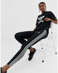adidas Originals Three Stripe Leggings In Black