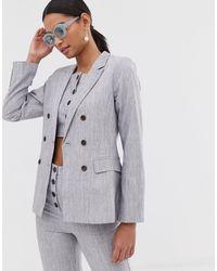 Fashion Union Двубортный Блейзер Co-ord-серый