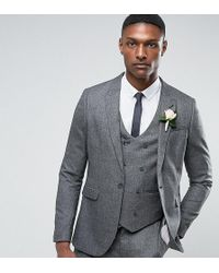 3b8e1397c716 ASOS - Asos Tall Wedding Skinny Suit Jacket In Slate Grey Woven Texture -  Lyst