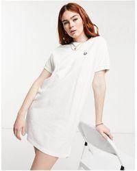 Fred Perry Boxy Pique Tshirt Dress - White