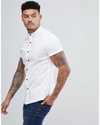 ASOS - Design Slim Shirt With Grandad Collar In White With Contrast Buttons - Lyst