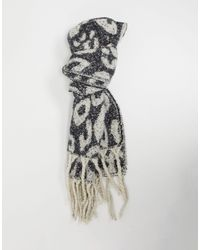 French Connection Animal Tassel Scarf - Black