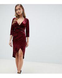 TFNC London Velvet Midi Wrap Dress In Burgundy - Red