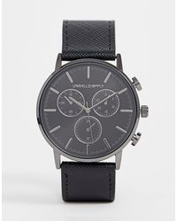 ASOS Classic Watch With Gunmetal Sub Dials And Black Saffiano Strap