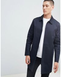 New Look - Single Breasted Cotton Mac In Navy - Lyst