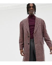 Heart & Dagger Overcoat In Burgundy Check - Red
