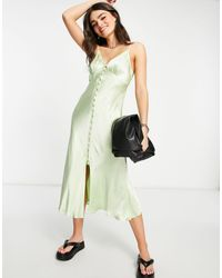 Ghost Maddison Sleeveless Satin Slip Dress With Button Detail - Green