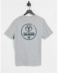 True Religion Camiseta gris con logo en la espalda