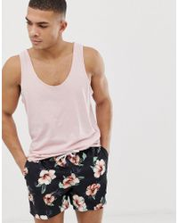 Abercrombie & Fitch - 5 Inch Floral Print Swim Shorts In Black - Lyst