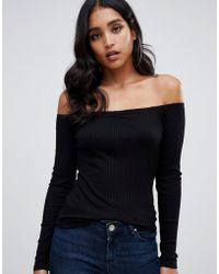 e9132a2f26d ASOS Off Shoulder Top With Frill Layer in Black - Lyst