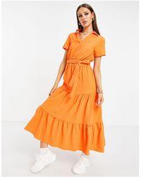 UNIQUE21 Tiered Woven Shirt Midi Dress - Orange