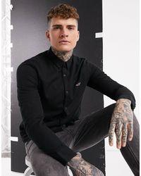 Hollister Slim Logo Long Sleeve Shirt - Black