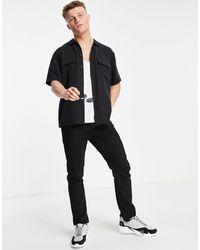 River Island Short Sleeve Shirt - Black