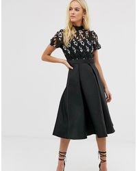 Little Mistress - Embroidered Upper Skater Dress - Lyst