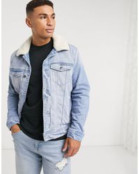 Hollister Sherpa Lined Denim Trucker Jacket - Blue
