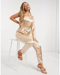 TFNC London Атласный Комбинезон Цвета Шампанского На Одно Плечо Bridesmaid-золотой - Естественный
