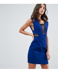 ASOS - Lace Up Plunge Sexy Mini Dress - Lyst